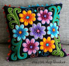 Peruvian Pillow cushion cover Hand embroidered flowers Sheep & alpaca wool 16 x…