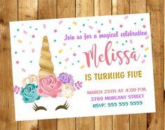Invitación de unicornio - unicornio cumpleaños invitación - invitación fiesta de unicornio - unicornio Floral invitación