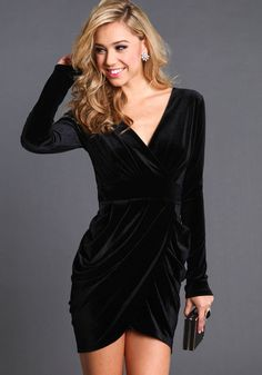 VELVET LONG SLEEVE TULIP DRESS $32.95