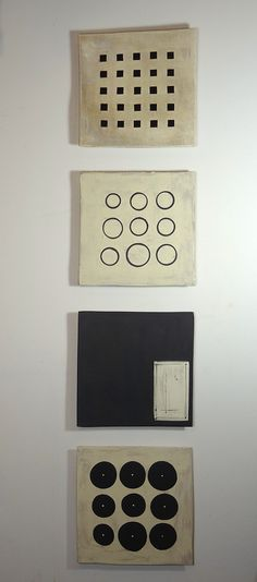 Black and White Wall Squares by Lori Katz: Ceramic Wall Art available at www.artfulhome.com