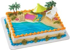 Amazon.com: Beach Chair and Umbrella DecoSet Cake Decoration: Toys ...