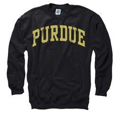 Purdue Boilermakers Black Arch Crewneck Sweatshirt