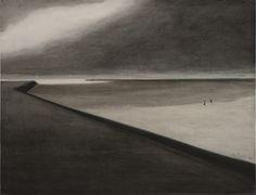 Léon Spilliaert, Digue et plage, 1907. Encre de Chine, lavis et crayons de couleur sur papier
