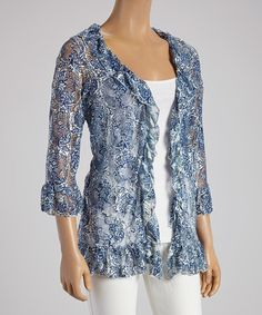 Another great find on #zulily! Blue & Ivory Paisley Ruffle Open Cardigan - Women #zulilyfinds