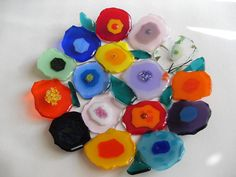 Contemporary blooms Floral Colorful fused glass plate/home decor. via Etsy. Slumped Glass, Fused Glass Plates, Fused Glass Art, Dichroic Glass, Glass Dishes, Stained Glass Art, Mosaic Glass, Glass Bowls, Flower Plates
