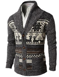 Mens Casual Nordic Patterned Knited Shawl Collar Cardigan (KMOCAL026)