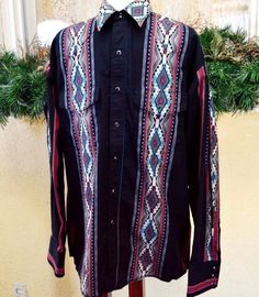 Wrangler L Western Shirt Black/Multi Southwest Stripes Pockets Long Sleeves  #Wrangler