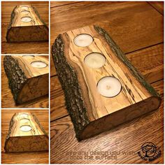 Rustic Personalised Engraved Candle Centrepiece Holder Wood Live Edge Wayney Edge Chunky Tealight - Best Do It Yourself (DIY) Ideas 2019 Small Wood Projects, Wood Turning Projects, Learn Woodworking, Woodworking Projects, Tea Light Candles, Tea Lights, Wood Turning Lathe, Wooden Candle Holders, Live Edge Wood