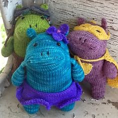 Harriet The Haberdashery Hippo By Rebecca Danger - Purchased Knitted Pattern - (ravelry)