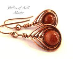 Wire wrapped earrings / Copper earrings / wire wrapped jewelry handmade / Brown goldstone / wire jewelry / copper jewelry / earthy jewelry