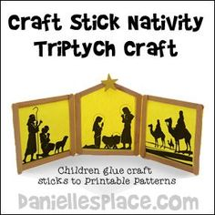 Christmas Craft for Kids - Nativity Triptych Craft Stick Bible Craft for Sunday School from www.daniellesplace.com
