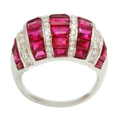 Art Deco Bombe Ruby and Diamond Ring