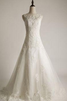 A linha Scoop Neck mangas lantejoulas Tribunal Train Vestido de Noiva - Vestidos Noiva - Vestido de casamento Vogue Season