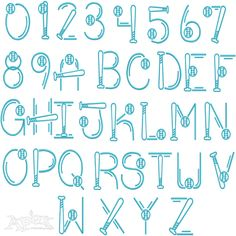 Baseball Softball Embroidery Font Set Includes: 3 inch Upper, 1.5 upper, 1.5 inch lower 1.25 inch Lower PLUS Sport Ball. Letters stitch and sew out great on all embroidery sewing machines.
