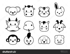 Flat Animal Faces Monochrome Icon Cartoon Stock Vector 366939839 ...