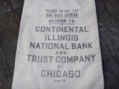 Money Bag, Coin Bag, Cloth Coin Bag, Continental Bank, Illinois, Chicago Bank, Coin Collector, Numismatist, Banker, Man Cave. Industrial by CasaKarmaDecor, $13.50 USD