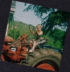 Vintage Photograph Adorable Little Boy Driving Huge Tractor on the Farm