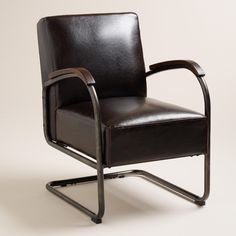 Sable brown bi-cast leather upholstery and wood armrest inlays give our industrial-inspired chair its handsome appeal. With a cantilever-style steel tube frame that eases over time into a gentle rock, this comfortable chair only gets better with age.