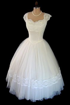 RESERVED for Vita1860- Vintage 1950's 50's Emma Domb Ivory Tulle Lace Shelf Bust Cocktail Party Prom Wedding Dress S/M