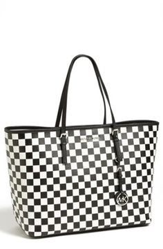 MICHAEL Michael Kors Travel Tote | I really like the black and white check ... but the blue and black is to die for!!!