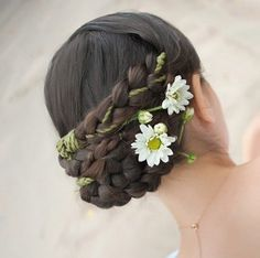 Wedding hairstyle gathered pigtails