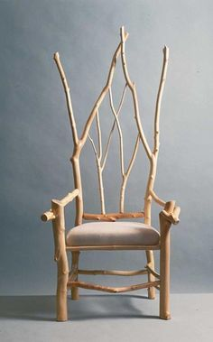 "I obviously need this chair. Source: Daniel Mack Rustic furnishings (peeled maple branch chair in Gothic Revival style) TLC Home ""Cabin Decor Idea: All Aglow"" Twig Furniture, Furniture Design, Furniture Ideas, Deco Nature, Wild Nature, Deco Design, Take A Seat, Chair Design, Wood Art"