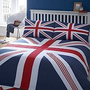 union jack bedding - I just like this! What a way to think about being wrapped up in home :) Sweet dreams!