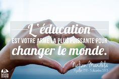 Citation : L'éducation est votre arme la plus puissante pour changer le monde. Nelson Mandela latoilescoute.com Nelson Mandela, Classroom, Teacher, Thoughts, Symbols, Inspiration, Change The Worlds, Phrase Of The Day, Love Thoughts