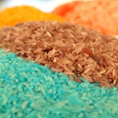 The easiest way to make Vibrant rainbow rice! Love that it is only 2 steps and absolutely perfect for sensory play!