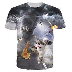 Uideazone Men's Cat Fly Tornado Funny Tee T-shirt