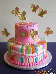 Pink and Butterflies Cake