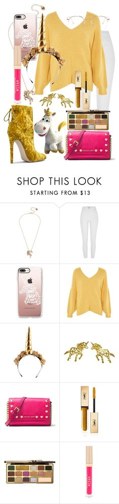 """Buttercup the Unicorn {Toy Story 3} Inspired Outfit"" by the-disney-outfits ❤ liked on Polyvore featuring Betsey Johnson, River Island, Casetify, Topshop, CUPLÉ, MICHAEL Michael Kors, Yves Saint Laurent, Too Faced Cosmetics, Stila and Thom Browne"