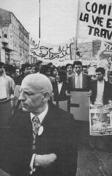 Michel Foucault at immigrant rights protest