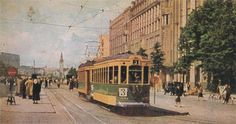 Tram 3 in Mannerheimintie during the second world war, Helsinki