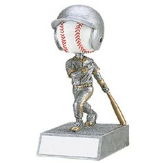 $6.50 Baseball Bobblehead. Honor the Coach, Team Mom, or your favorite team member with our whimsical Baseball BobbleHead! The low quantity-based price includes 30 letters of free printing for your special message. Each bobblehead award is individually boxed for presentation.