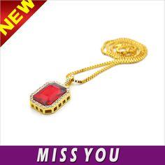 Hip Hop Crystal Fashion Ruby 18k Gold Jewelry