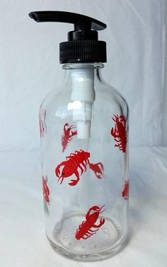 Maine Lobster Lotion or Soap glass pump bottle 8 oz hand