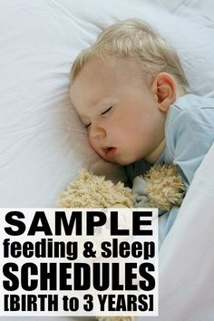 If you long to get your baby or toddler on a predictable schedule, today is your lucky day! This post will give you sample sleep and feeding schedules from birth to 3 years, as well as links to fabulous resources to help you deal with sleep regressions and get your child on a consistent nap schedule. Good luck!