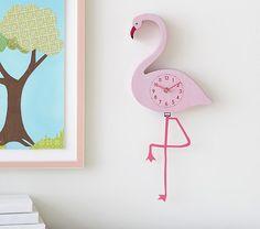 Pottery Barn Flamingo Pendulum Clock - girls room decor