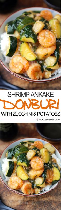 Shrimp Ankake Donburi - A deliciously gooey, sweet and savory Japanese shrimp stir fry with zucchini and potatoes. We love this for a comforting family dinner! Easy, Seafood   pickledplum.com
