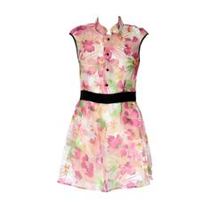 Flower Printed High Waist Pink Dress (1.618.740 IDR) ❤ liked on Polyvore