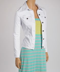 Take+a+look+at+the+Tractr+White+Basic+Denim+Jacket+on+#zulily+today!