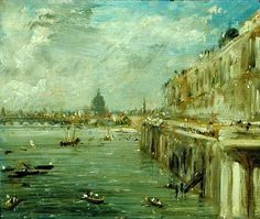 Somerset House Terrace and the Thames A View from the North End of Waterloo Bridge with St. Paul's Cathedral in the distance, John Constable