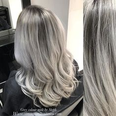 This slate grey into silver colour melt by Steph is simply striking To book in for a complementary colour consultation with Steph or one of our talented colourists call us on 02920461191 Grey Hair Don't Care, Gray Hair, Latest Hair Color, Grey Ombre, Hair And Beauty Salon, Color Melting, Hair 2018, Hair Transformation, Everyday Hairstyles