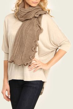 Ruffled Edge Scarf In Taupe.