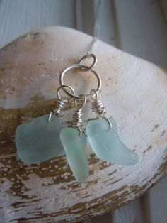 Soft Blue Green Seafoam Beach glass cluster Necklace, sterling silver chain, Made in Vermont