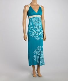 Look what I found on #zulily! Teal Tapestry Lace-Strap Maxi Dress by India Batik #zulilyfinds