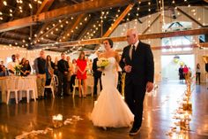 bride and father twinkle light barn wedding