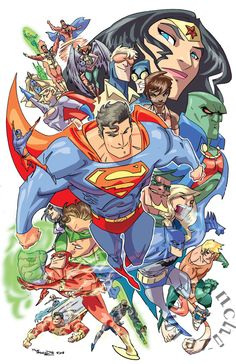 Justice League by *theFranchize on deviantART I love that this has the Captain and the Blue and Gold
