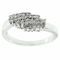 0.30 Cttw G VS Round Diamonds Cocktail Ring Band 14K White Gold #Cocktail #Diamonds #Ring #Band #14K #White #Gold #ValentinesDay #Gift
